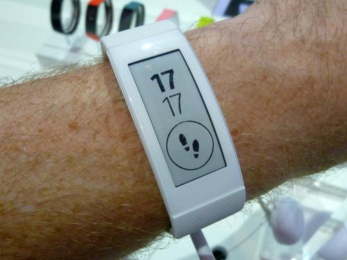 Sony's Smartband on a reporter's wrist at IFA Berlin on September 3, 2014