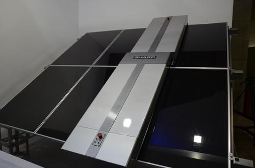 Sharp's automatic solar panel cleaner on show at Ceatec 2013 in Japan on October 1, 2013.