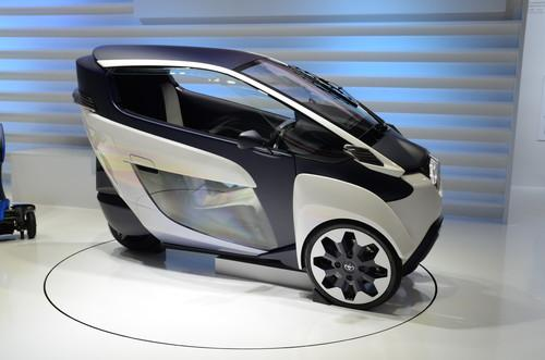 Toyota's i-Road prototype vehicle on show at Ceatec 2013 in Japan on October 2, 2013.