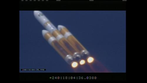 A Delta IV Heavy rocket just after lift off from Vandenberg Air Force Base at 11:03am PDT on August 28, 2013, carrying a classified payload believed to be a U.S. spy satellite. Screengrab from feed supplied by United Launch Alliance.