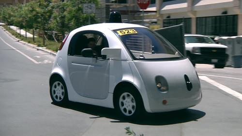 A Google self-driving navigates streets near the company's headquarters in Mountain View, California, on June 29, 2015.