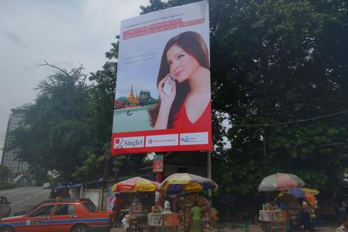 A billboard ad for one of the carriers that lost out in Myanmar's tender for telecom licenses.
