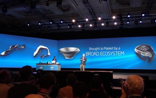 Intel's CEO shows a new line of wearable computers in his opening speech at CES Monday