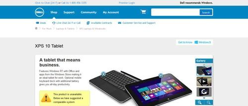 Dell's XPS 10 is not available, a screenshot of the company's website