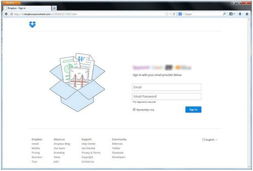 Once a victim supplied their login credentials, the bogus page redirected to Dropbox's real login page, Symantec said.