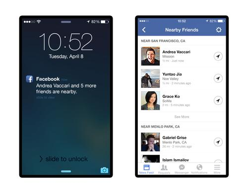 Facebook's Nearby Friends feature provides notifications when friends are nearby.