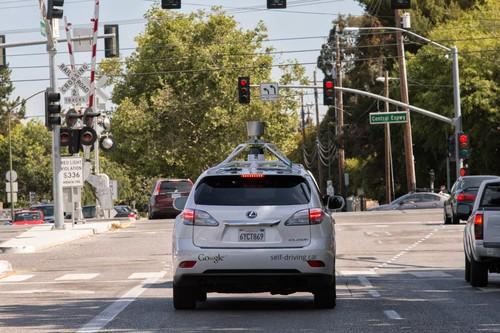 One of Google's self-driving cars, on the streets of Mountain View, California.