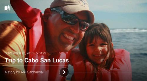 """A photo as displayed in Google's new """"Stories"""" mode for Google+."""