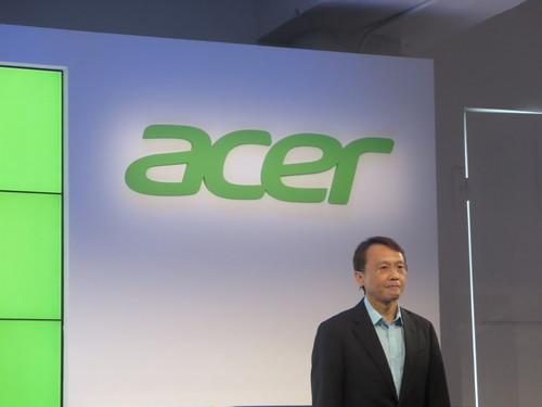 Acer CEO Jason Chen talking on-stage at a press event in New York