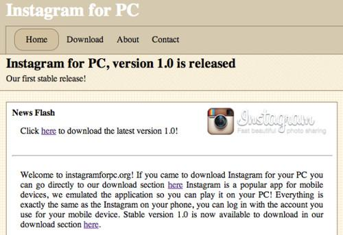An advertisement circulating on Facebook and Twitter for a desktop version of the photo-sharing application Instagram is a scam, according to security vendor Symantec.