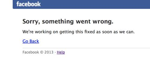 Facebook went down on Thursday, with an error message simply saying that the unidentified problem would be fixed.