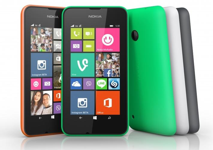 The Lumia 530 will be available in orange, green, dark grey and white, along with a selection of changeable shells in a variety of colours.