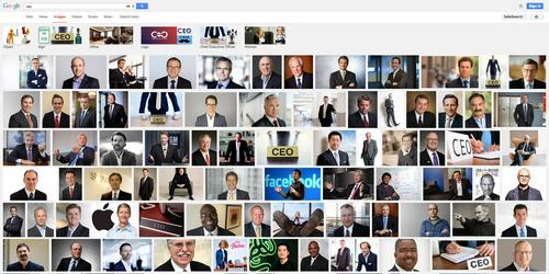 """Searching """"CEO"""" in Google Image Search produces a sea of male faces and one woman (at bottom, center): CEO Barbie"""