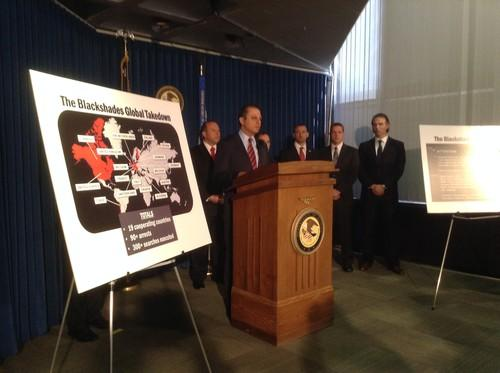 Preet Bharara, United States Attorney for the Southern District of New York, in a press conference in New York announcing the Blackshades arrests in May 2014.