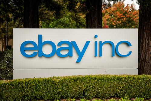 An eBay, Inc. sign on the company's campus
