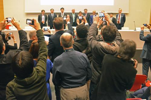 Panelists discussing a European vision statement on 5G mobile technology posed for a group photo on Tuesday at Mobile World Congress in Barcelona.