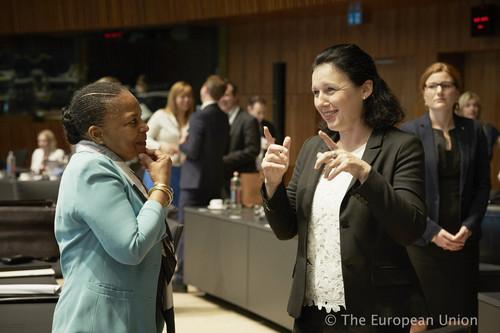 Christiane Taubira, French Minister for Justice (left); Věra Jourová, European Commissioner for Justice, Consumers and Gender Equality (right), during a meeting of the Council of the  European Union in Luxembourg on June 15, 2015