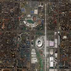 Fencing Hall and National Indoor Stadium. Beijing, China. Collected July 19, 2008. Courtesy of GeoEye.