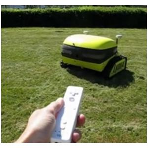 Casmobot uses a standard Wii remote control that communicates via Bluetooth to a robot built into the mower.