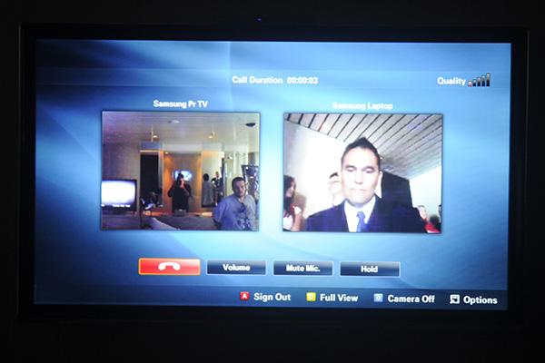 Samsung's televisions feature an integrated Skype calling service when used with a USB-connected webcam.
