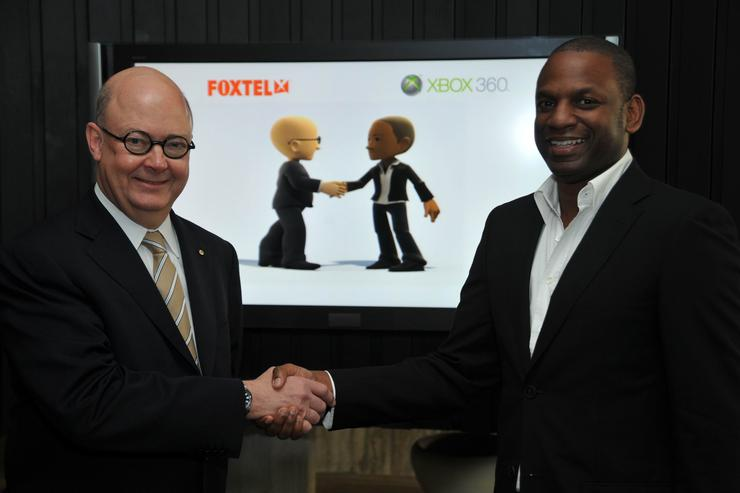 Foxtel CEO Kim Williams and Microsoft Australia's head of Entertainment and Devices David McLean seal the deal to bring Foxtel to Xbox Live before the end of the year.