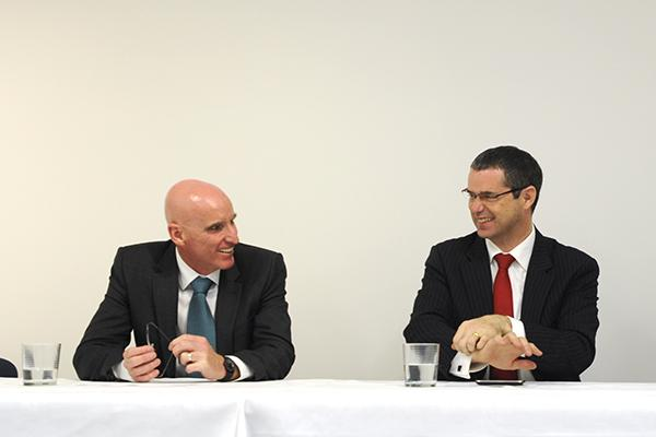 NBN Co chief, Mike Quigley and Senator Stephen Conroy