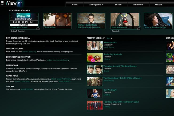 The traditional Web-based iView interface is not used when viewing on a BRAVIA television; instead a cut-down version is streamed from a different content server to Sony Bravia TVs and Blu-ray players.