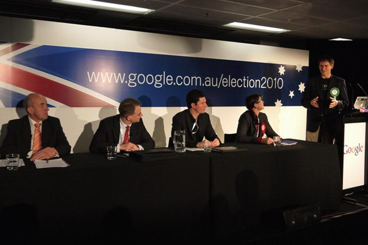 Google Australia's Alan Noble moderated a discussion panel consisting of Labor senator Kate Lundy, Greens senator Scott Ludlam, Liberal MP Paul Fletcher and Australian Electoral Commission spokesman Doug Orr.