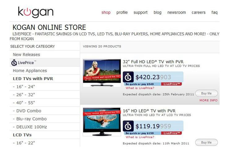 The Kogan LivePrice system is enabled for 20 products on the Kogan Australia Web site.
