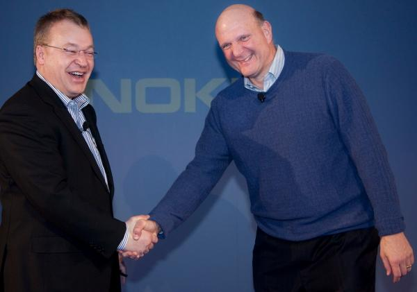 Happy couple: Nokia's Steven Elop and Microsoft's Steve Ballmer at the announcement of the partnership