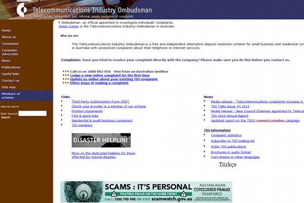 The Telecommunications Industry Ombudsman (TIO) Web site.