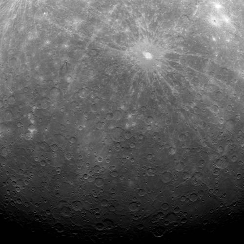 This photo taken by the Messenger spacecraft from Mercury's orbit shows an area near the planet's south pole. (Image: NASA)