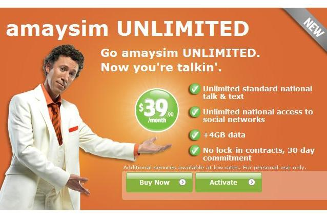Amaysim's unlimited plan, as promoted on its Web site