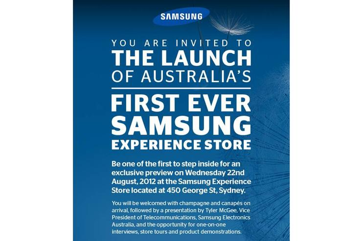 The invite Samsung sent to Australian media for the opening of the Samsung Experience Store in Sydney