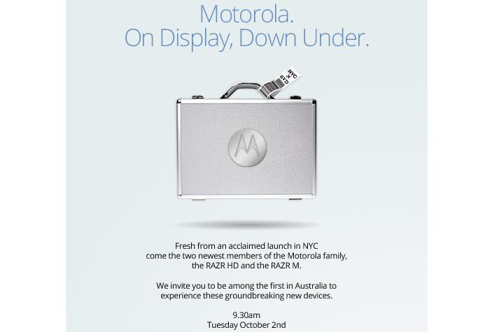 Motorola's invite to the Australian launch of the RAZR HD and RAZR M 4G smartphones.