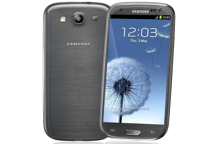 """The Samsung Galaxy S III 4G, pictured above in """"titanium gray""""."""