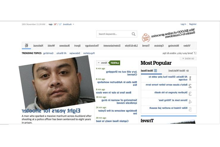 The New Zealand Herald's website had spinning photos and backwards text on Friday morning after it evidently was the victim of an amusing cross-site scripting attack.