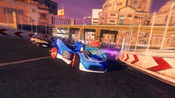 Sonic (centre) and Shadow (left) are back at the wheel in Sonic & All-Stars Racing Transformed