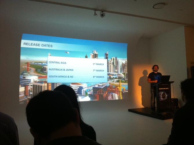 Maxis SimCity producer, Jason Haber, presents during EA's Showcase 2012 event in Sydney