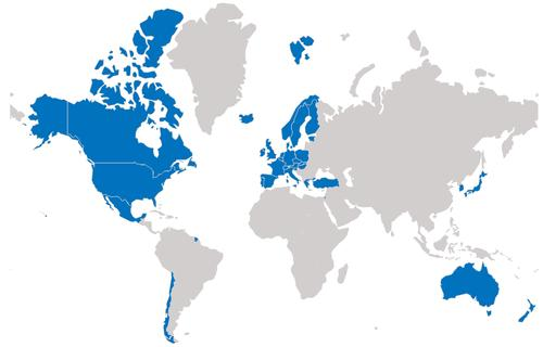 Map of OECD countries