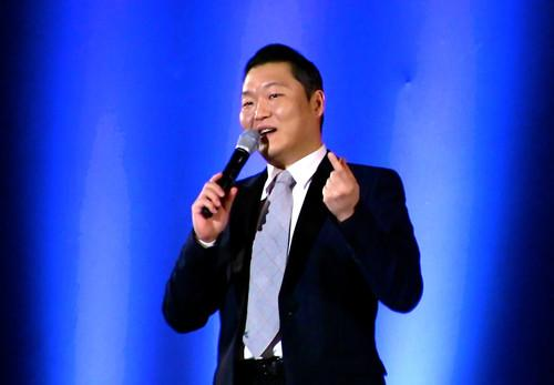 "South Korean rapper Psy talks about the origin of ""Gangnam Style"" at the 2015 Computer-Human Interaction Conference in Seoul this week. He initially resisted suggestions to upload the song's video to YouTube, believing no one outside South Korea would be interested. It has since broken all viewership records on the site."