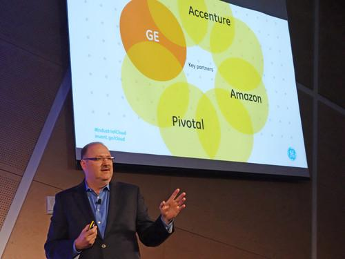 Bill Ruh, vice president of General Electric's Global Software Center, unveiled industrial Internet partnerships with Pivotal, Accenture and Amazon Web Services in San Francisco.