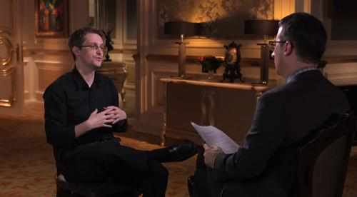 """Edward Snowden during an interview with HBO's John Oliver, aired on """"Last Week Tonight"""" on April 5, 2015."""