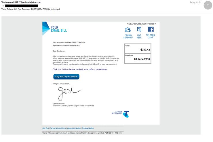 A Telstra phishing scam has been detected by MailGuard