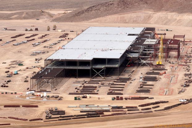Tesla's Gigafactory is currently under construction outside of Reno, Nev. Credit: Creative Commons Lic BY-NC_SA 4.0 Bob Tregilus