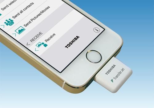 Toshiba's TransferJet dongle for iPhones and other iOS devices can send 100MB of data in about three seconds.