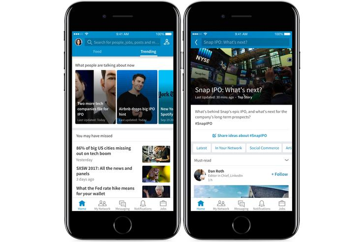 LinkedIn add news curation with 'trending storylines'