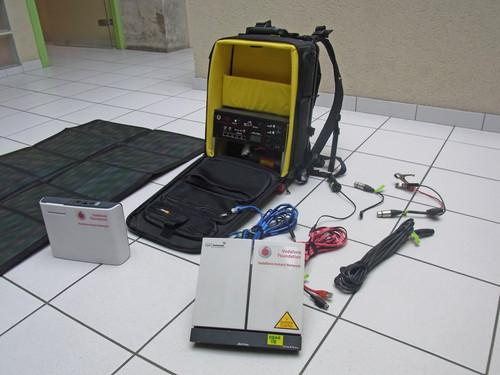The Vodafone Foundation's Instant Network Mini contains everything needed for a small 2G GSM base station, including satellite backhaul, in a backpack.