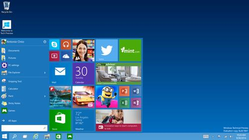 Microsoft is pushing out a Windows 10 Technical Preview on preview.windows.com on Wednesday.