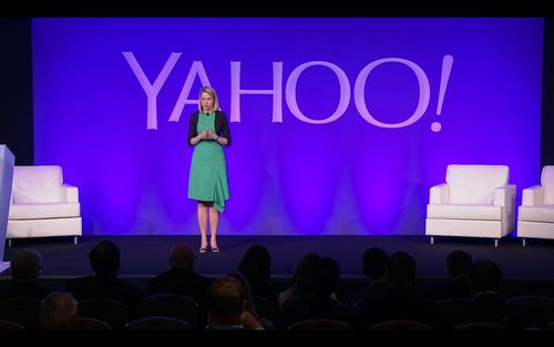 Marissa Mayer, Yahoo CEO, discusses a new search partnership during the company's annual shareholder meeting in Santa Clara, California, on June 24, 2015.